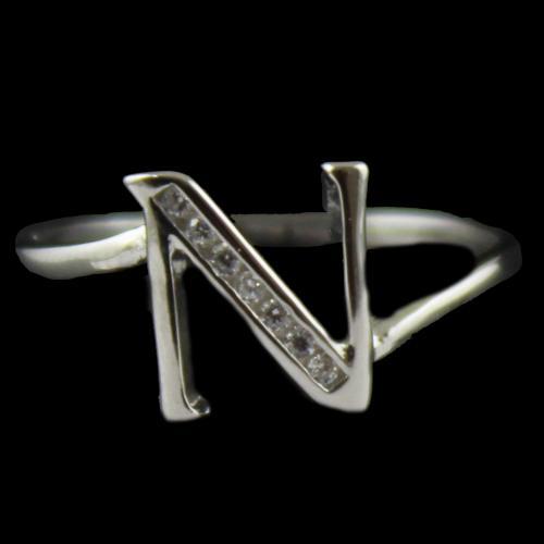 Zircon Stone N Letter Ring