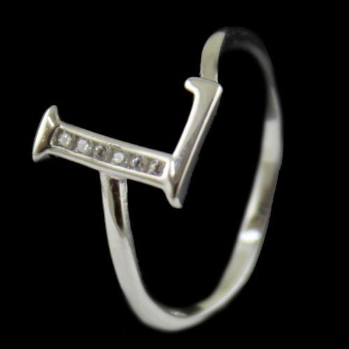Zircon Stone L Letter Ring