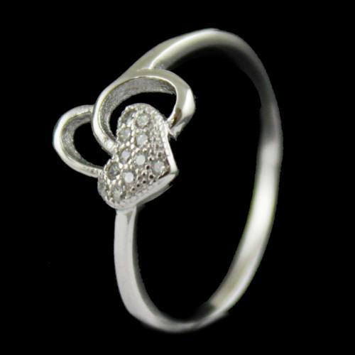 R14720 Sterling Silver Ring Studded Heart Shape Zircon Stones