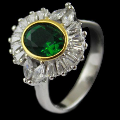 Green Zircon Stone Bridal Ring