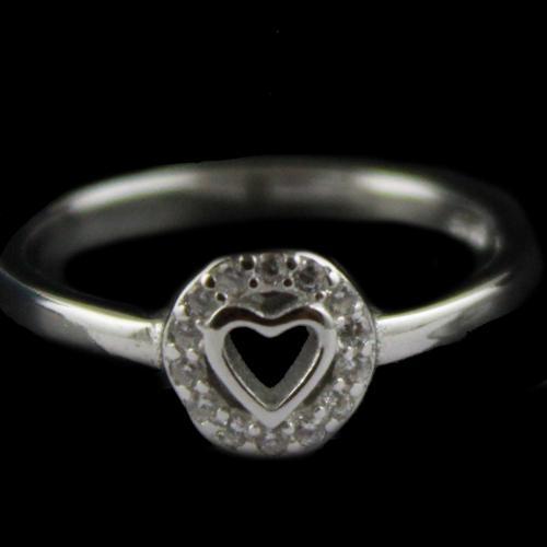 R13393 Sterling Silver Fancy Ring Studded Zircon Stones