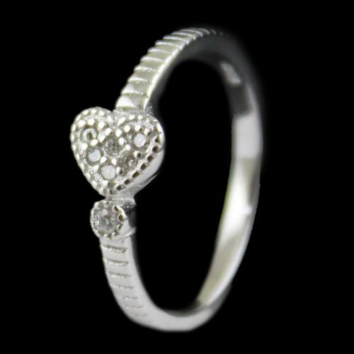 R13360 Sterling Silver Fancy Ring Studded Zircon Stones