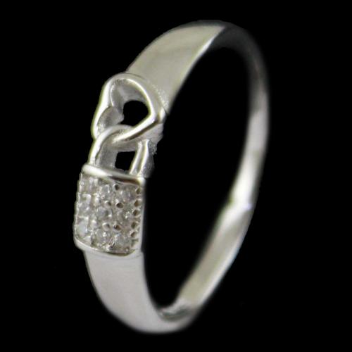 R13361 Sterling Silver Fancy Ring Studded Zircon Stones