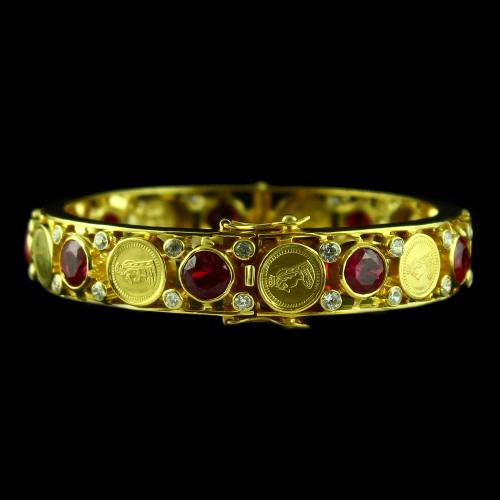 Gold Plated Corundum Stone Coin Bangle