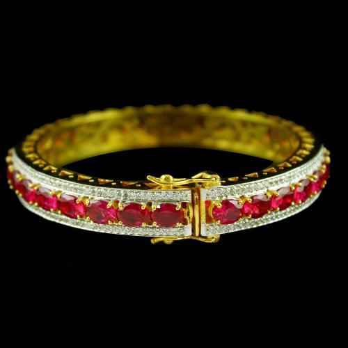 Gold Plated Corundum Stone Bangle