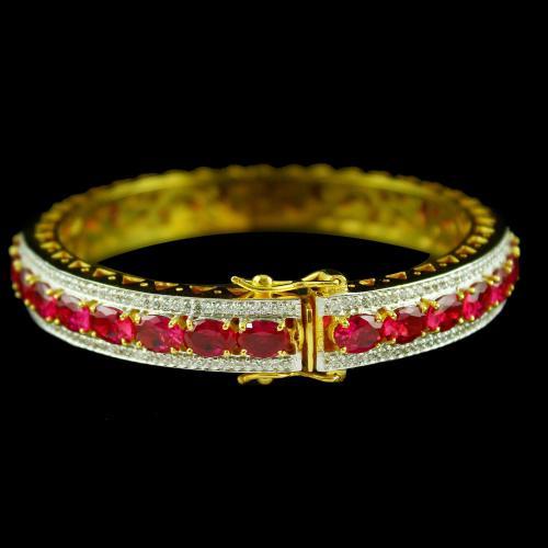 Gold Plated Corundum Stone Bangle