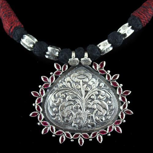 Oxidized Ganesha Thread Necklace