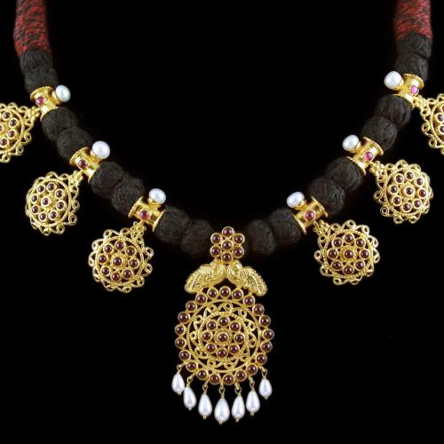 Gold Plated Peacock Thread Necklace