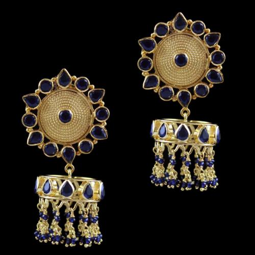 Gold Plated Earring Drops  Blue Onyx And Blue Beads