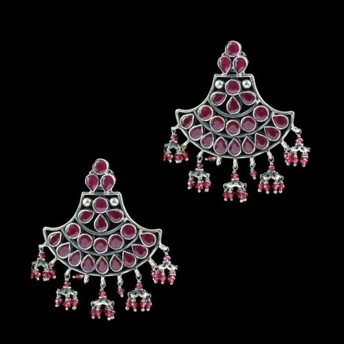 Oxidized Earring Drops Red Onyx And Red Beads