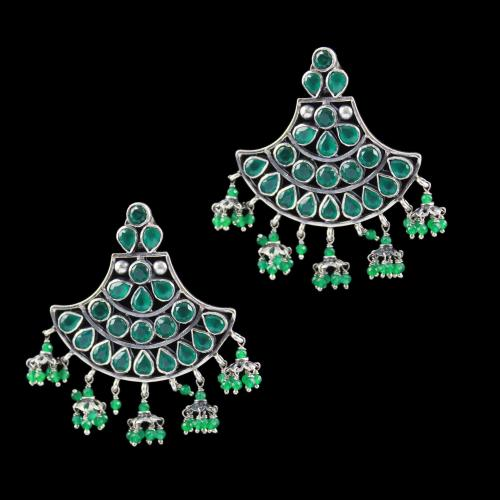Oxidized Earring Drops Green Onyx And Green Beads
