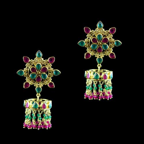 Gold Plated Earring Drops Blue,Green Onyx And Blue,Green Beads