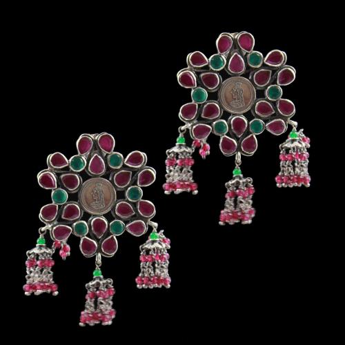 Oxidized Earring Drops Red,Green Onyx And Red,Green Beads