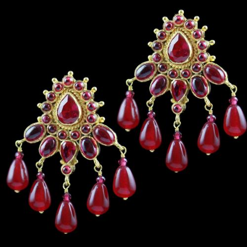 Gold Plated Earring Drops Red Corundum