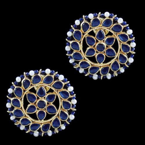 Gold Plated Casual Earring Blue Corundum And Pearl