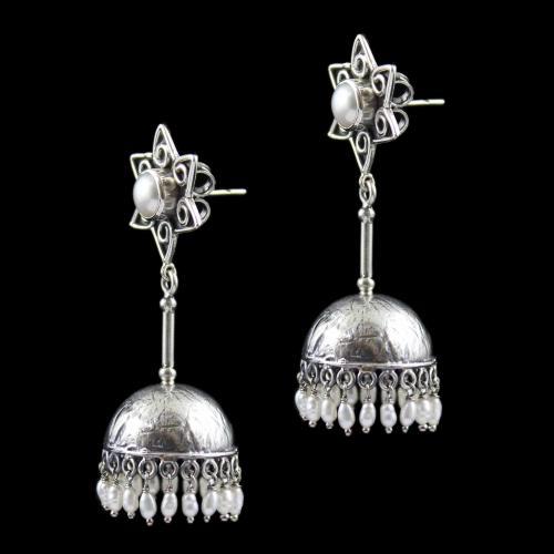 Oxidized Earring Jhumka Pearl