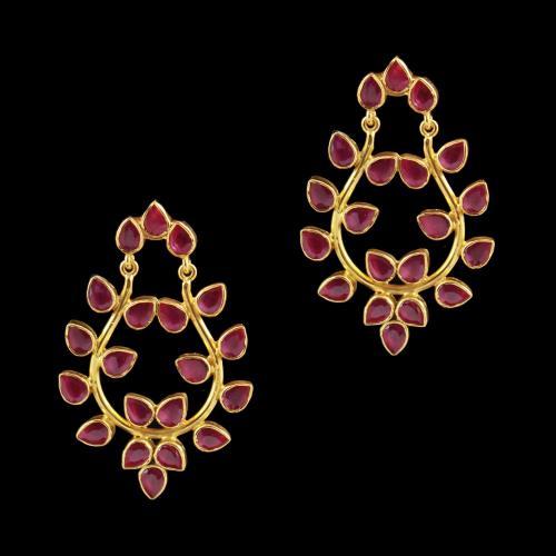Corundum Stone Flower Drops Earring