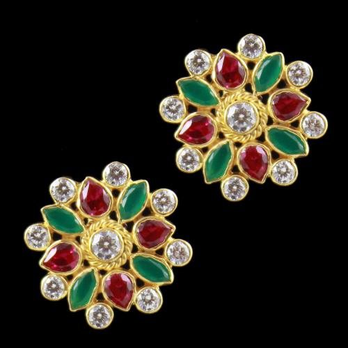 Gold Plated casual Earring Corundumg And Zircon