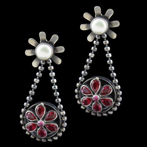 oxidized earring Drops red Corundum