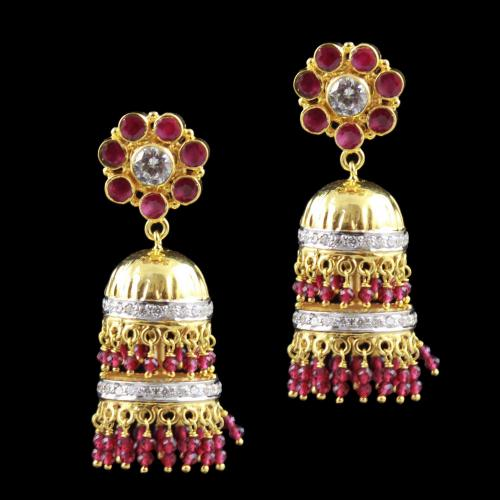 Gold Plated Jhumka Earrin Red Corundumg And Zircon