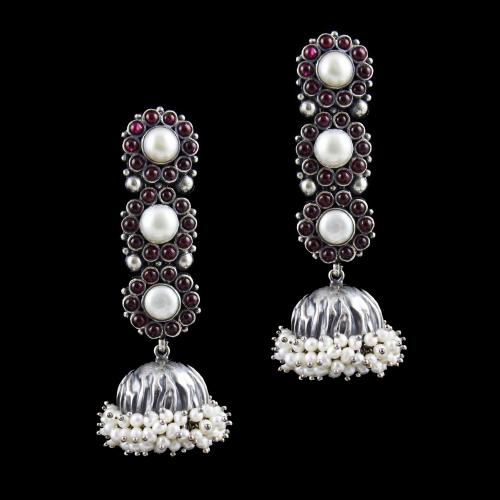 Oxidised Jhumka Earring with Pearl