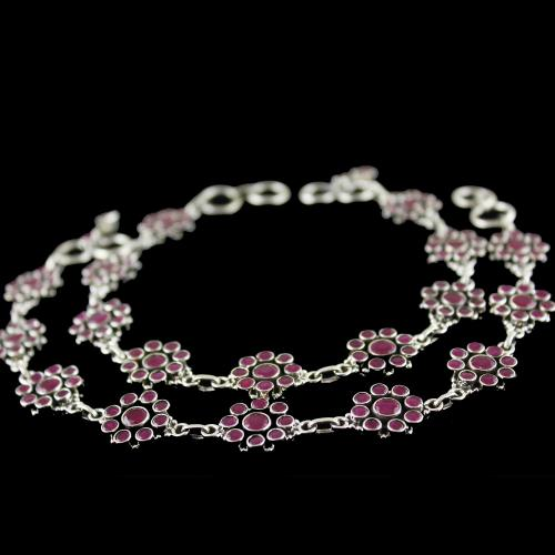 OXIDIZED RED ONYX STONE FLORAL ANKLETS
