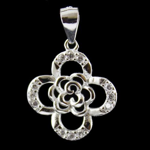 Floral Design Pendent Studded Zircon Stones