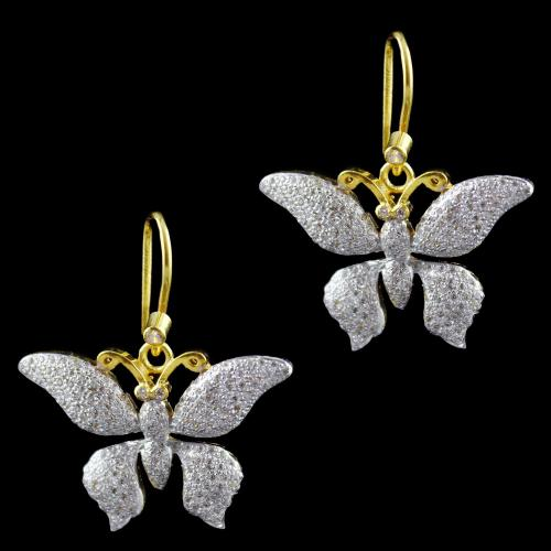 Gold Plated Butterfly Hanging Earring Zircon Stone
