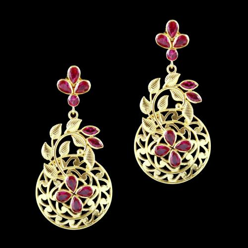 GOLD PLATED CORUNDUM STONE DROPS EARRING