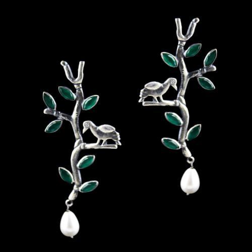 Green Leaf Pearl Drop With Zircon Stone Earring
