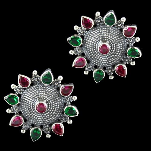 Oxidized Silver Red And Green Corundum Stone Floral Earring