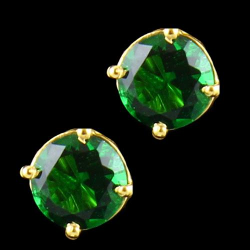 Gold Plated Green Solitaire Stone Traditional Earring