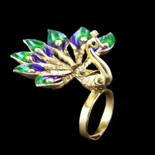 Gold Plated Meena And Fancy Peacock Bridal Party Wear Ring