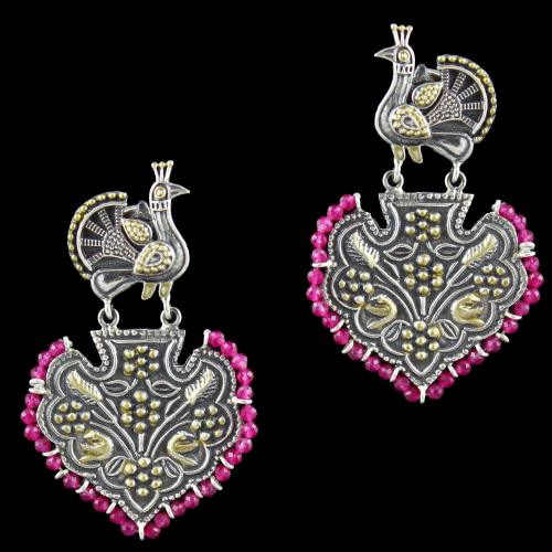 Oxidized Silver Peacock Design Floral Drops Earring