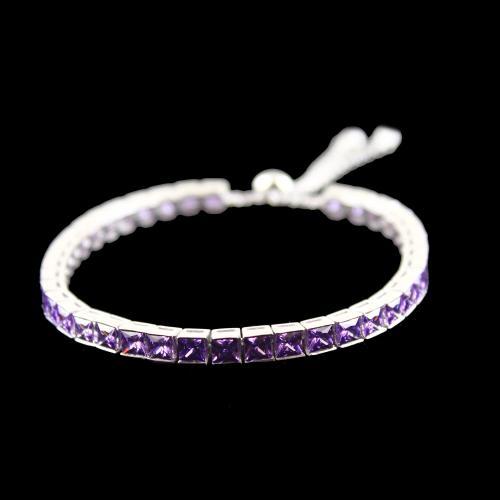 Zircon Amethyst Stone Party Wear Channel Bracelets