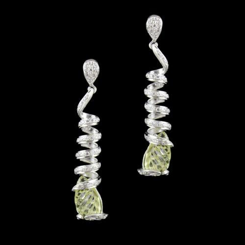Zircon And Peridot Stone Party Wear Earring