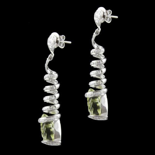 Zircon And Peridot Stone Party Wear Earring