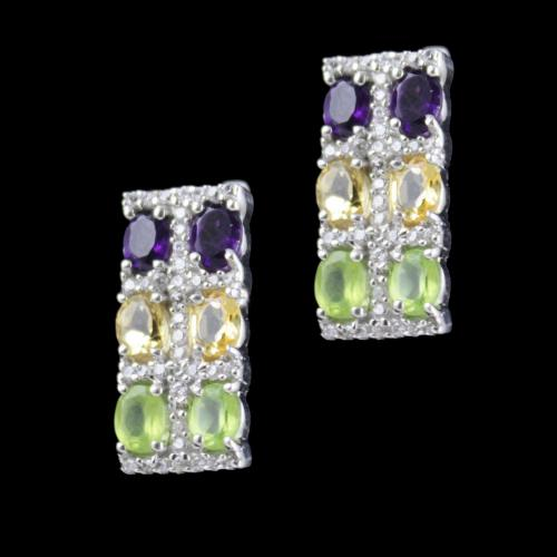 Multi Stone Party Wear Bali Earring