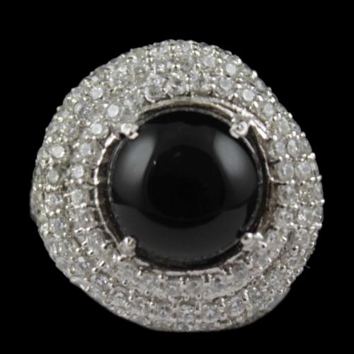 Black Onyx And Zircon Stone Party Wear Ring