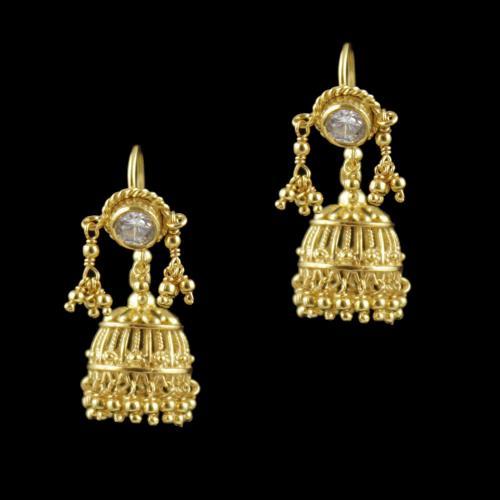 Gold Plated Hanging Jhumka Earrings With Zircon Stone