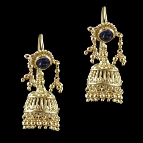 Gold Plated Hanging Jhumka Earrings With Blue Hydro Quartz