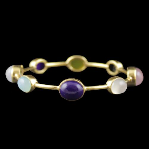 Gold Plated Multi Color Onyx Stone Bangle