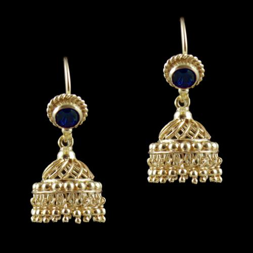 Gold Plated Hanging Jhumka Earrings With Red Corundum Stone
