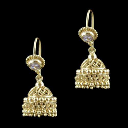 Gold Plated Hanging Jhumka Earrings With Green Hydro Quartz