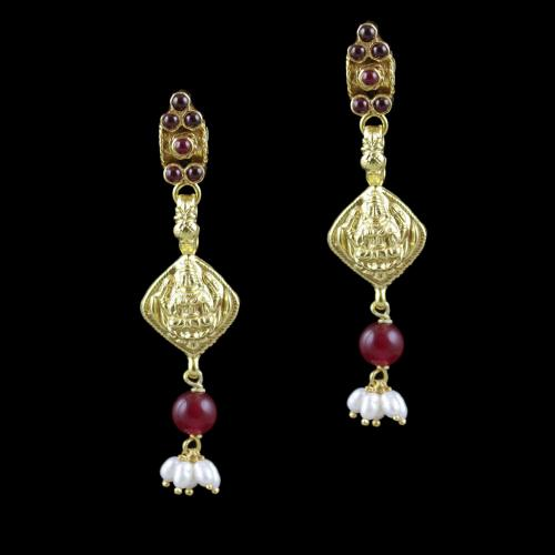 Gold Plated Red Onyx And Pearl Stone Lakshmi Drops Party Wear Earrings