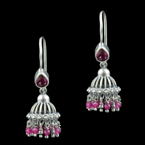 Oxidized Silver Red Corundum With Red Beads Jhumka Earrings