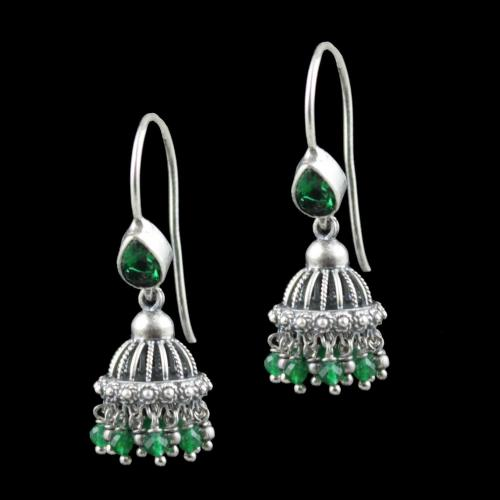 Oxidized Silver Green Hydro Quartz With Green Beads Jhumka Earrings