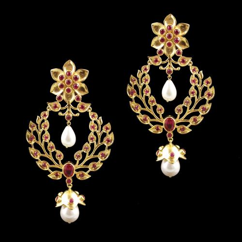 Gold Plated Zircon Stone And Pearl Drops Earrings