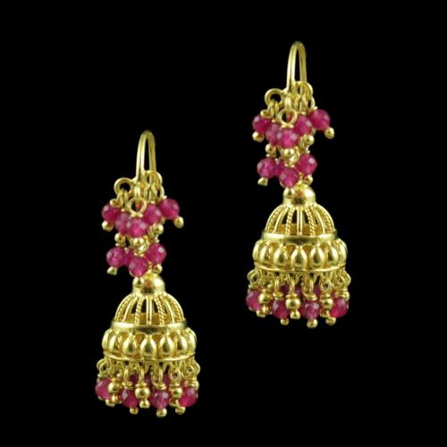Gold Plated Red Beads Fancy Hanging Earrings