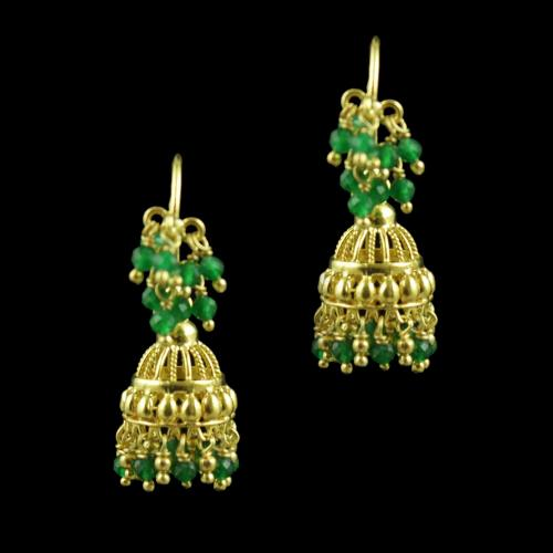 Gold Plated Green Beads Fancy Hanging Earrings